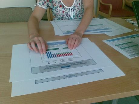 Bildet viser arbeid med papirprototyp