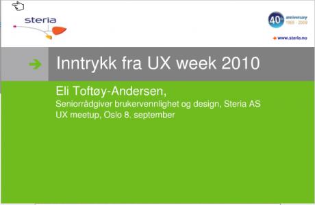 Forside på presentasjonen fra UX Week