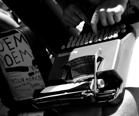 Picture of poet typing