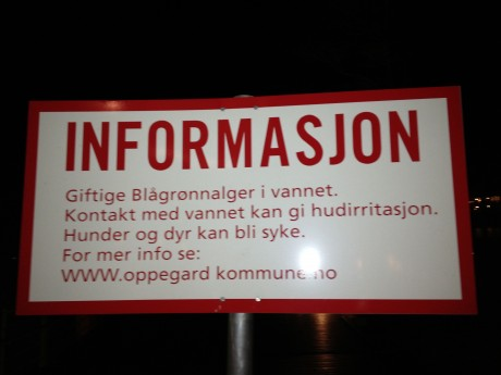 Skilt med overskriften informasjon - sier lite om hva budskapet er